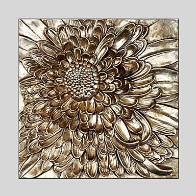 Kézzel festett Virágos / Botanikus Négyzet,Modern Klasszikus Tradicionális Európai stílus Egy elem Vászon Hang festett olajfestmény For
