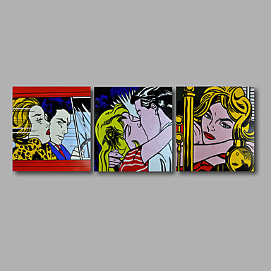 Pintados à mão Abstrato / Pessoas / TransparenteModerno 3 Painéis Tela Pintura a Óleo For Decoração para casa