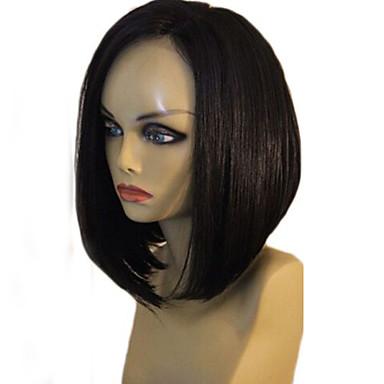 Emberi haj Csipke Csipke eleje Paróka Egyenes 130% Sűrűség 100% kézi csomózású Afro-amerikai paróka Természetes hajszálvonal Rövid Közepes