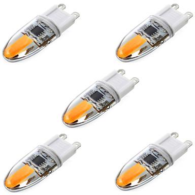 billige Elpærer-ywxlight® 5pcs g9 cob 4w 350-450lm ledet bi-pin lys varm hvit kjølig hvit ledet mais pære lysekrone lampe ac 220-240v