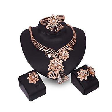 נשים סט תכשיטים חפת וינטאג' חמוד מסיבה עבודה יום יומי אופנתי תכשיטים גדולים Party אירוע מיוחד יום הולדת זירקוניה מעוקבת ציפוי זהב זהב 18K
