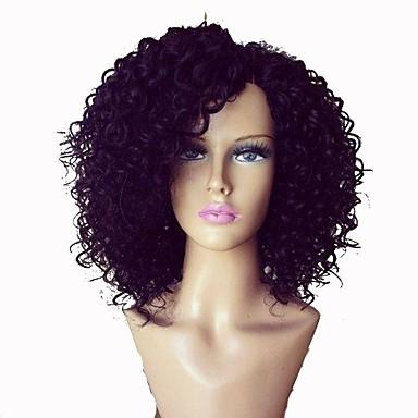 Kadın Gerçek Saç Örme Peruklar Gerçek Saç Tutkalsız Dantel Ön % 130 % 150 Yoğunluk Kinky Kıvırcık Peruk Simsiyah Koyu Kahverengi Orta