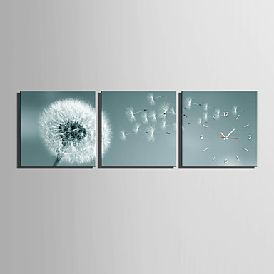 Kvadrat Moderne / Nutidig Wall Clock,Andre Lerret40 x 40cm(16inchx16inch)x3pcs/ 50 x 50cm(20inchx20inch)x3pcs/ 60 x