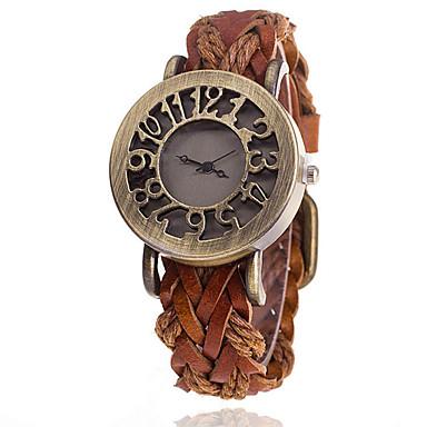 Damen Modeuhr Quartz Armbanduhren für den Alltag Leder Band Schwarz Weiß Blau Rot Braun