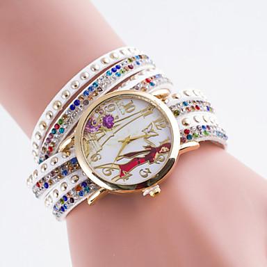 Mulheres Relógio de Moda Simulado Diamante Relógio Quartzo PU Banda Preta Branco Azul Vermelho Marrom Verde Rosa Rose