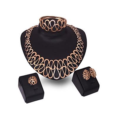 Damen Kubikzirkonia 18K Gold Schmuck-Set Armband Ohrringe Halsketten Ring - Breiter Armreif Retro Niedlich Party Büro Freizeit Erklärung