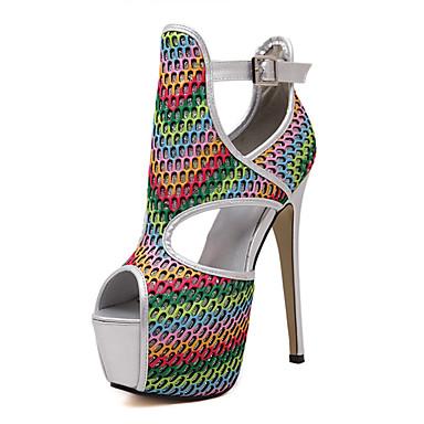 Damen Schuhe Tüll Sommer Stöckelabsatz Plateau Für Kleid Party & Festivität Silber