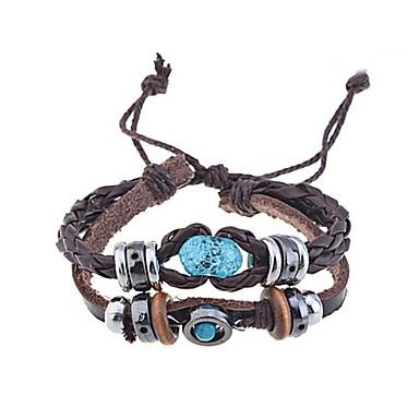 Men's Wrap Bracelet / Leather Bracelet - Leather Unique Design, Fashion Bracelet Coffee For Christmas Gifts / Party / Daily