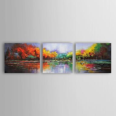 Kézzel festett Landscape / Absztrakt tájképModern Három elem Vászon Hang festett olajfestmény For lakberendezési