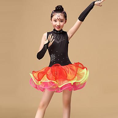 Dança Latina Vestidos Crianças Apresentação Tule Pano Vestido Luvas