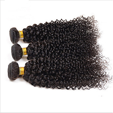 Az emberi haj sző Maláj haj Kinky Curly 3 darab haj sző