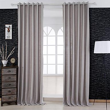 2 paneeli Modernit Tukeva Salvia Living Room Pellava/polyesteriseos Paneeli Verhot Drapes