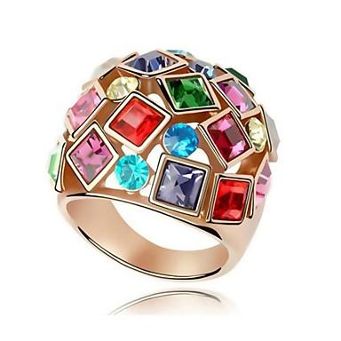 Damen versilbert Statement-Ring - Einstellbar Regenbogen Ring Für Party