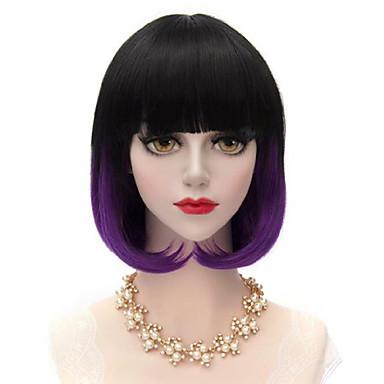 Damen Synthetische Perücken Kappenlos Mittel Glatt Purpur Kostüm Perücken