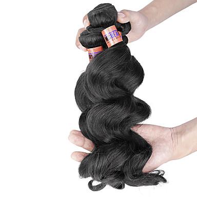 İnsan saç örgüleri Düz Brezilya Saçı Gevşek Dalgalar 4 Parça saç örgüleri