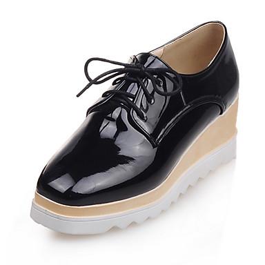 Platform / Szögletes orrú-Parafa-Női cipő-Félcipők-Ruha / Alkalmi-Bőrutánzat-Fekete / Piros / Arany