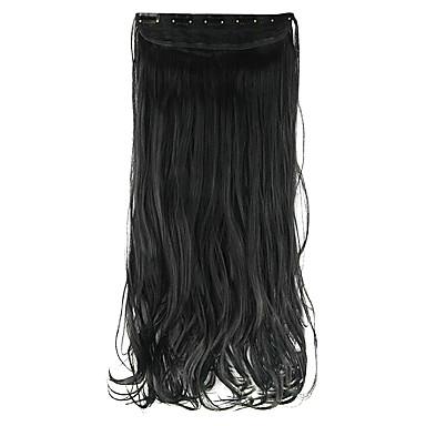 Länge tief schwarz 60cm hoch Hemperature Draht Perücke Haarverlängerung synthetisches Haar