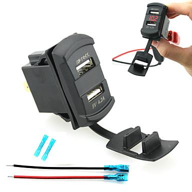 iztoss Dual USB Car Charger Gerät LED-Digitalanzeige Voltmeters mit Drähten und isolierte Wärmeschrumpfverbinder