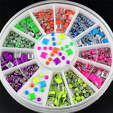 6 Neonfarben scharf Quadrat Runde Legierung Nagelkunst Aufkleber Spitzen Plattierung glitzern Mode Nagel Werkzeuge DIY Dekoration Stanzen