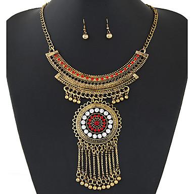 Mulheres Conjunto de Jóias Colar / Brincos Pedras preciosas sintéticas Strass Imitações de Diamante Liga Vintage Festa Fashion Europeu