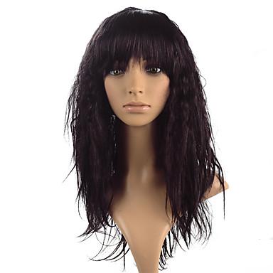 Synteettiset peruukit Kinky Straight Otsatukalla Synteettiset hiukset Heat Resistant Musta / Ruskea Peruukki Naisten Pitkä Lace Front