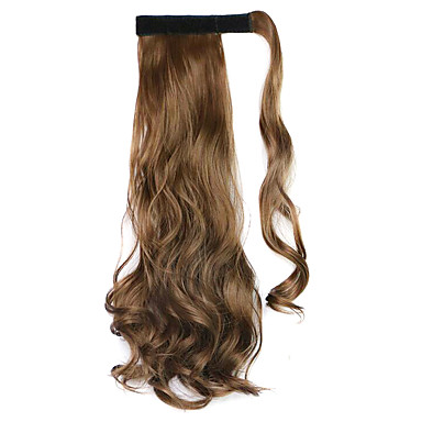 peruca marrom 45 centímetros sintética fio de alta temperatura de cor de rabo de cavalo encaracolado 10