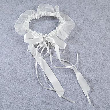 Strumpfband Stretch-Satin Spitze Schleidenbänder Perlenstickerei Elfenbein
