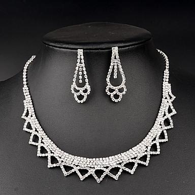 Femme Set de Bijoux Cristal Mode Mariée Strass Colliers décoratifs Boucles d'oreille Pour Mariage Soirée Occasion spéciale Anniversaire