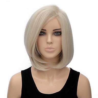 Synthetische Perücken Glatt Bubikopf Synthetische Haare Weiß Perücke Damen Kurz Halloween Perücke / Karnevalsperücke Kappenlos