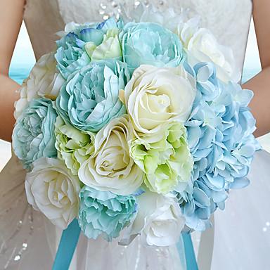 Bouquets de Noiva Buquês Casamento Festa / Noite Flôr Seca Strass Poliéster Organza Cetim 9.84
