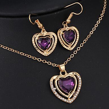 Damen Smaragd Synthetischer Amethyst Aleación Hochzeit Jahrestag Verlobung Ohrringe Halsketten Modeschmuck