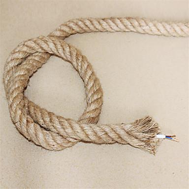 hesapli Aydınlatma Aksesuarları-(10 m / grup) 2 * 0.75 antik çift örgülü kenevir halat elektrik teli eski kolye ışık kordon örme işıklar aksesuarları