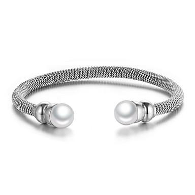 Damen Manschetten-Armbänder Einstellbar Ohne Verschluss Europäisch Modisch Perle Edelstahl Schmuck Für Party Alltag Normal