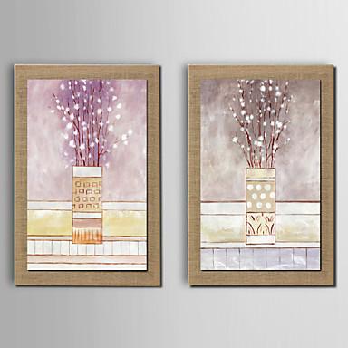 מצויר ביד פרחוני/בוטני מודרני,שני פנלים ציור שמן צבוע-Hang