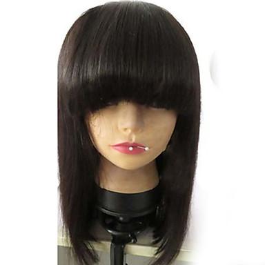 Echthaar Vollspitze Spitzenfront Perücke Glatt 130% Dichte 100 % von Hand geknüpft Afro-amerikanische Perücke Natürlicher Haaransatz Kurz