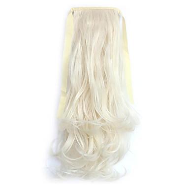נתפס עם קליפס גלי מסולסל קוקו קשירה חתיכת שיער הַאֲרָכַת שֵׂעָר 20 inch בלונד פלטינום