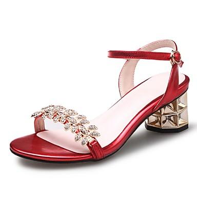 Damen Schuhe Glanz Kunstleder Frühling Sommer Knöchelriemen Blockabsatz Für Normal Kleid Party & Festivität Rot Golden