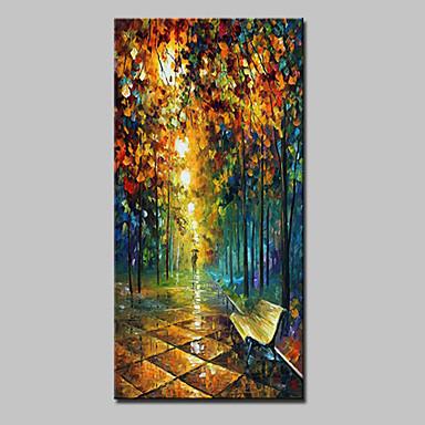 Håndmalte Abstrakte Landskap Vertikal,Moderne Et Panel Lerret Hang malte oljemaleri For Hjem Dekor
