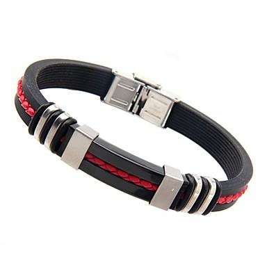 Homme Bracelets Rigides Mode Européen Acier inoxydable Silicone Bijoux Pour Quotidien Décontracté 1pc