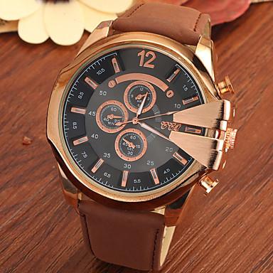 Herrn Armbanduhr Quartz Armbanduhren für den Alltag Leder Band Schwarz Braun