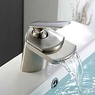 Moderne Centersat Foss Keramisk Ventil Enkelt Håndtak Et Hull Nikkel Børstet, Baderom Sink Tappekran