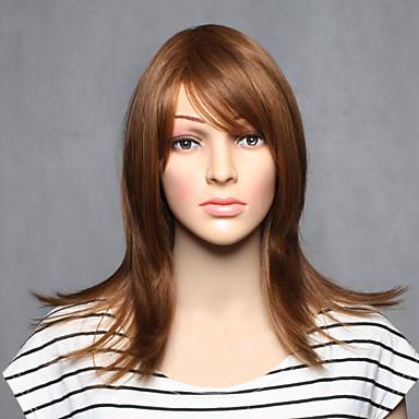 Synthetische Perücken Glatt Braun Damen Kappenlos Karnevalsperücke Halloween Perücke Medium Synthetische Haare