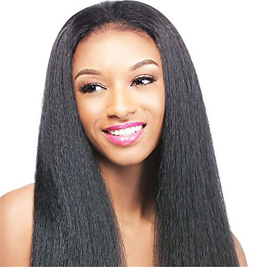 360 Lace Wig Kinky Straight Human Virgin Hair 130% Density Black Color Wig with Baby Hair For Black Women