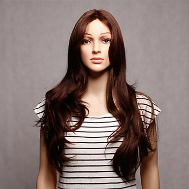 Pelucas sintéticas Ondulado Pelo sintético Peluca Mujer Larga Sin Tapa Marrón
