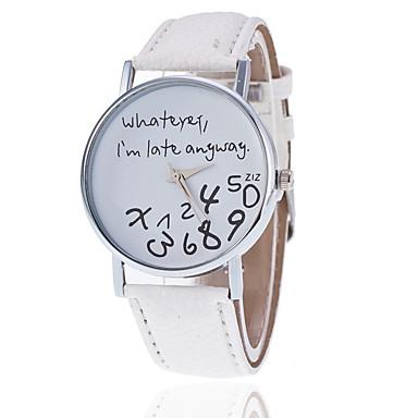זול שעוני נשים-בגדי ריקוד נשים שעון יד קווארץ דמוי עור מרופד שחור / לבן / אדום שעונים יום יומיים אנלוגי נשים אופנתי שעונים עם טקסט - ירוק כחול בהיר פוקסיה