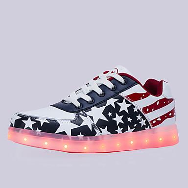 Damen Unisex Schuhe PU Frühling Sommer Herbst Winter Komfort Leuchtende LED-Schuhe Flacher Absatz Schnürsenkel Kombination Für Sportlich