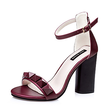 Femme Chaussures Polyuréthane Eté Talon Bottier Gris / Rose / Bourgogne