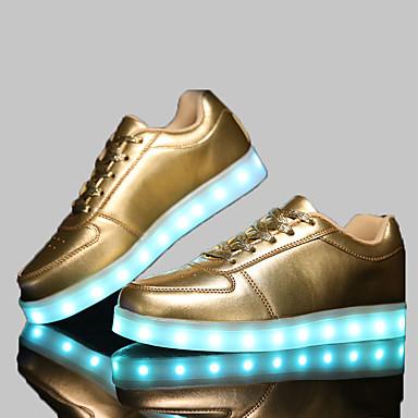 Homens Mulheres Sapatos Sintético Primavera Outono Conforto Sem Salto Velcro para Atlético Casual Social Branco Preto Prata Dourado