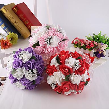 פרחי חתונה עגול ורדים זרים חתונה חתונה/ אירוע סאטן קצף גביש אבן ריין