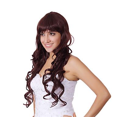 Perruque Synthétique Bouclé Avec Frange Cheveux Synthétiques Perruque Femme Sans bonnet